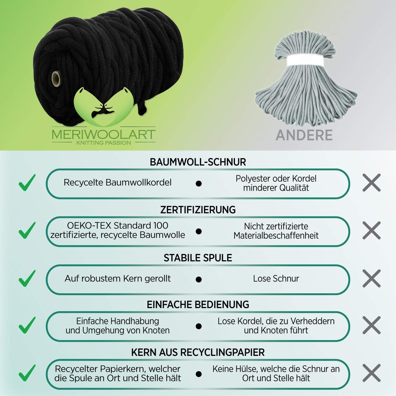 MeriWoolArt Cord/ón de algod/ón Reciclado 10 mm
