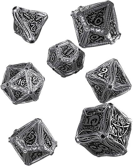 Q Workshop Metal Call of Cthulhu RPG Dice Set 7 Polyhedral Pieces: Amazon.es: Juguetes y juegos