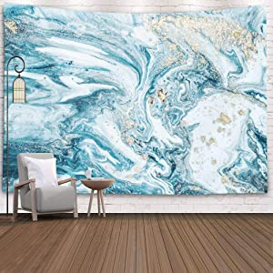 Pamime Tapestry Wall Hangings,Home Decor Tapestry Natural Luxury Effect Ancient Oriental Drawing Technique Marble Texture Beautiful Dorm Room Bedroom Living Room 60X60 Inch(150X150Cm),Blue Turquoise