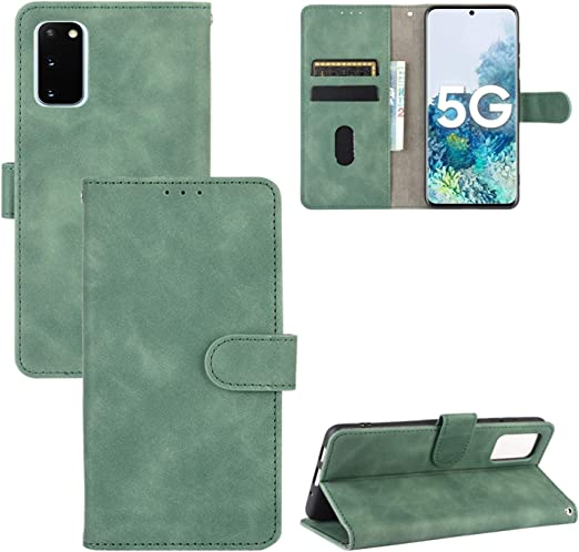 Compatible with Samsung Galaxy S20 Green PU Leather Wallet Cover Flip Case for Samsung Galaxy S20