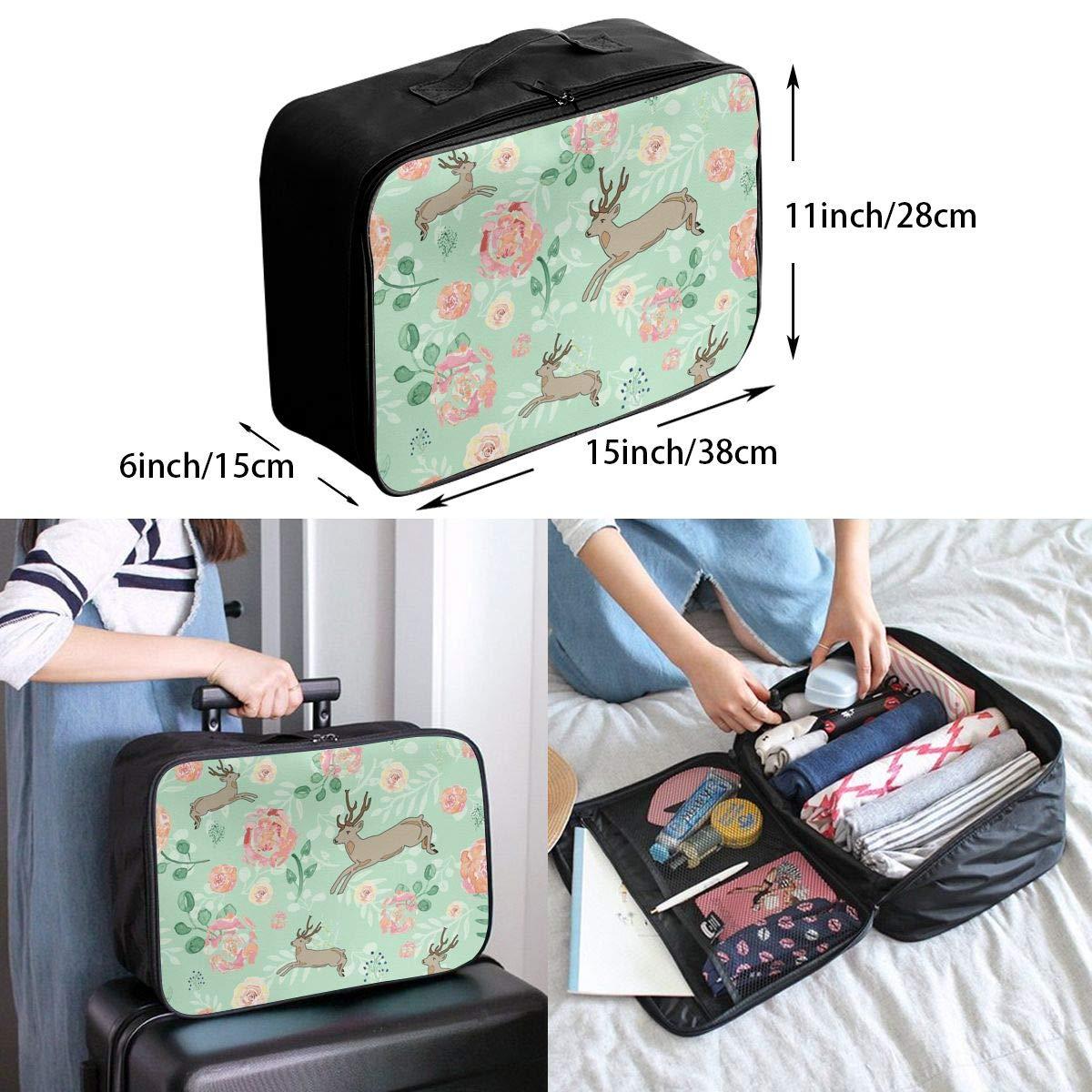 Travel Luggage Duffle Bag Lightweight Portable Handbag Deer Flowers Painting Large Capacity Waterproof Foldable Storage Tote