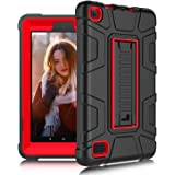 DONWELL Kindle Fire 7 2017 Case New Hybrid Shockproof Defender Protective Armor Cover with Kickstand for Amazon Kindle Fire 7 2017/All-New Amazon Fire HD 7 (Black/Red)
