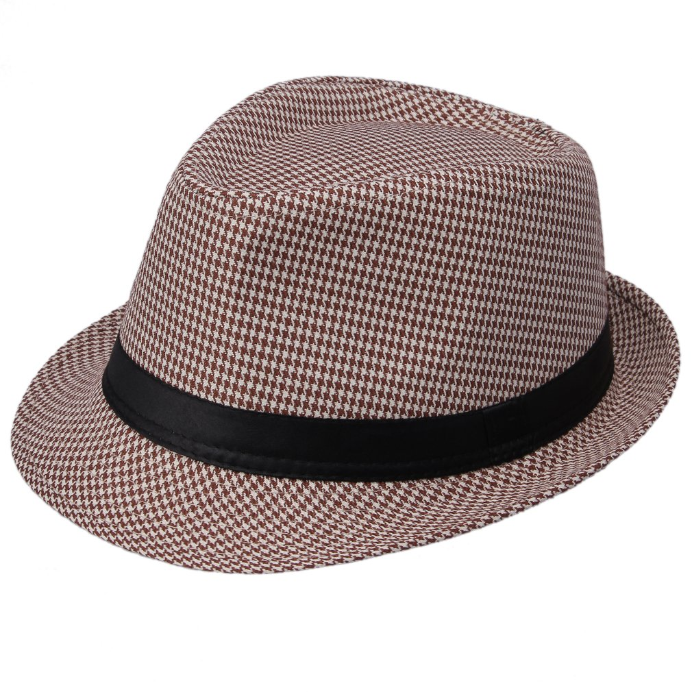 La Vogue Houndstooth Fedora Trilby Hat Sun Jazz Cap (Brown)