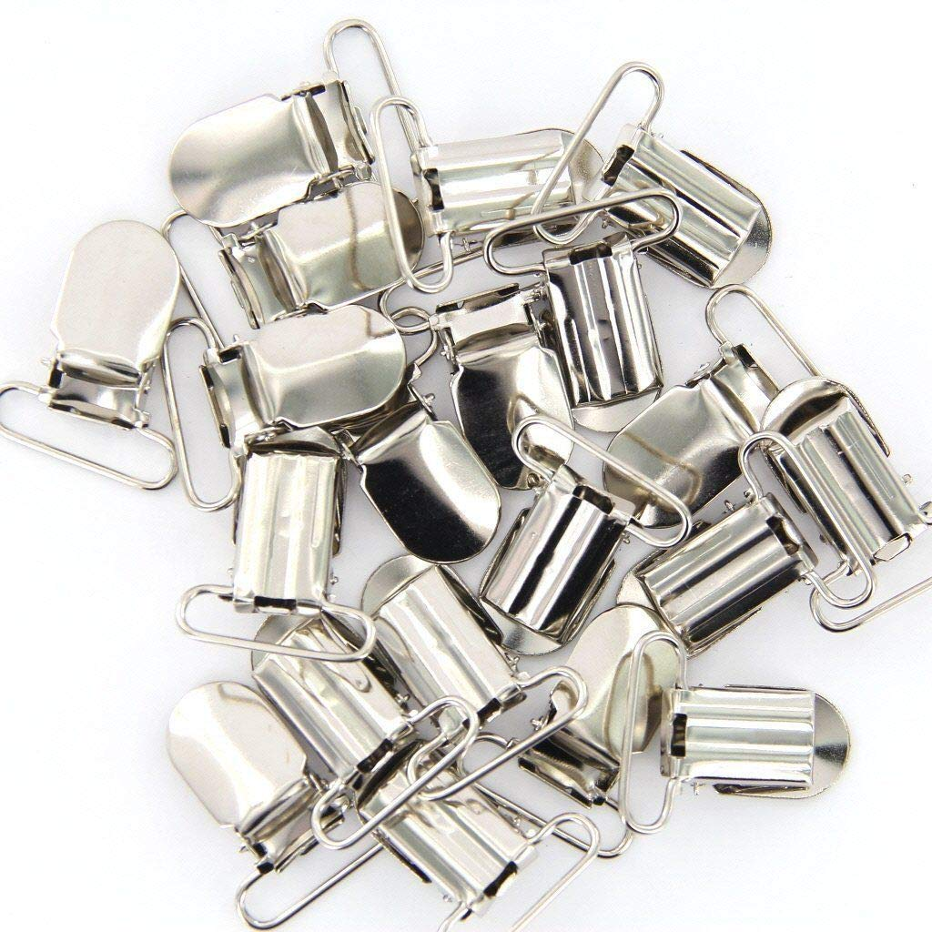 FUNSECO Pacifier Suspender Clips, Alloy Pacifier Clips for Making Pacifier Holders Bib Clips Toy Holder Silver - 25Pcs, 1 inch