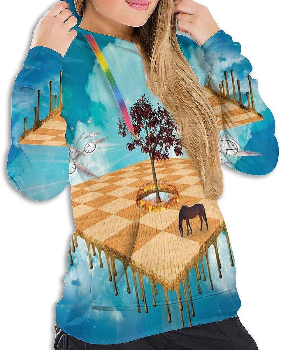 GULTMEE Womens Hoodie,Meaningful Artsy Unreal Landscape of Rural Life,Lady Sweatshirt