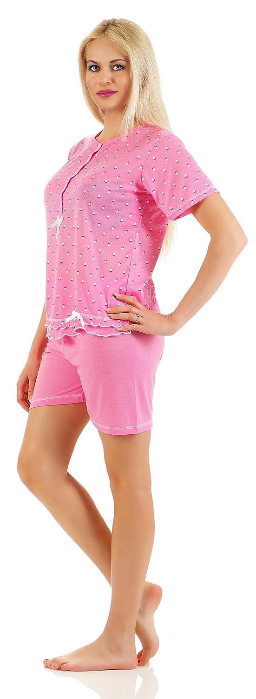 M,L Damen Schlafanzug Kurzarm XL,XXL,3XL in Lila 3//4 Hose 100/% Baumwolle...Gr