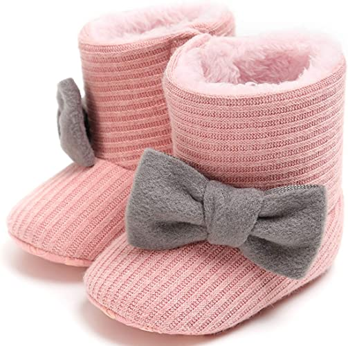 Baby Girls Boys Cute Bowknot Booties Soft Sole Anti-Slip Warm Winter Infant Prewalker Toddler Snow Boots