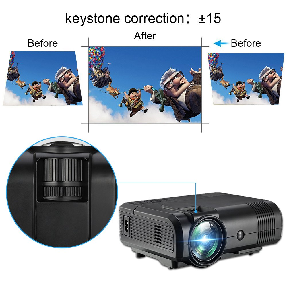 Projector, Weton 2200 Lumens Video Projector 1080P Portable Mini Projector Multimedia LED Projector Home Theater Movie Projector Support HDMI, USB, VGA, AV for IOS Android Smartphone (Plug and Play) by Weton (Image #7)