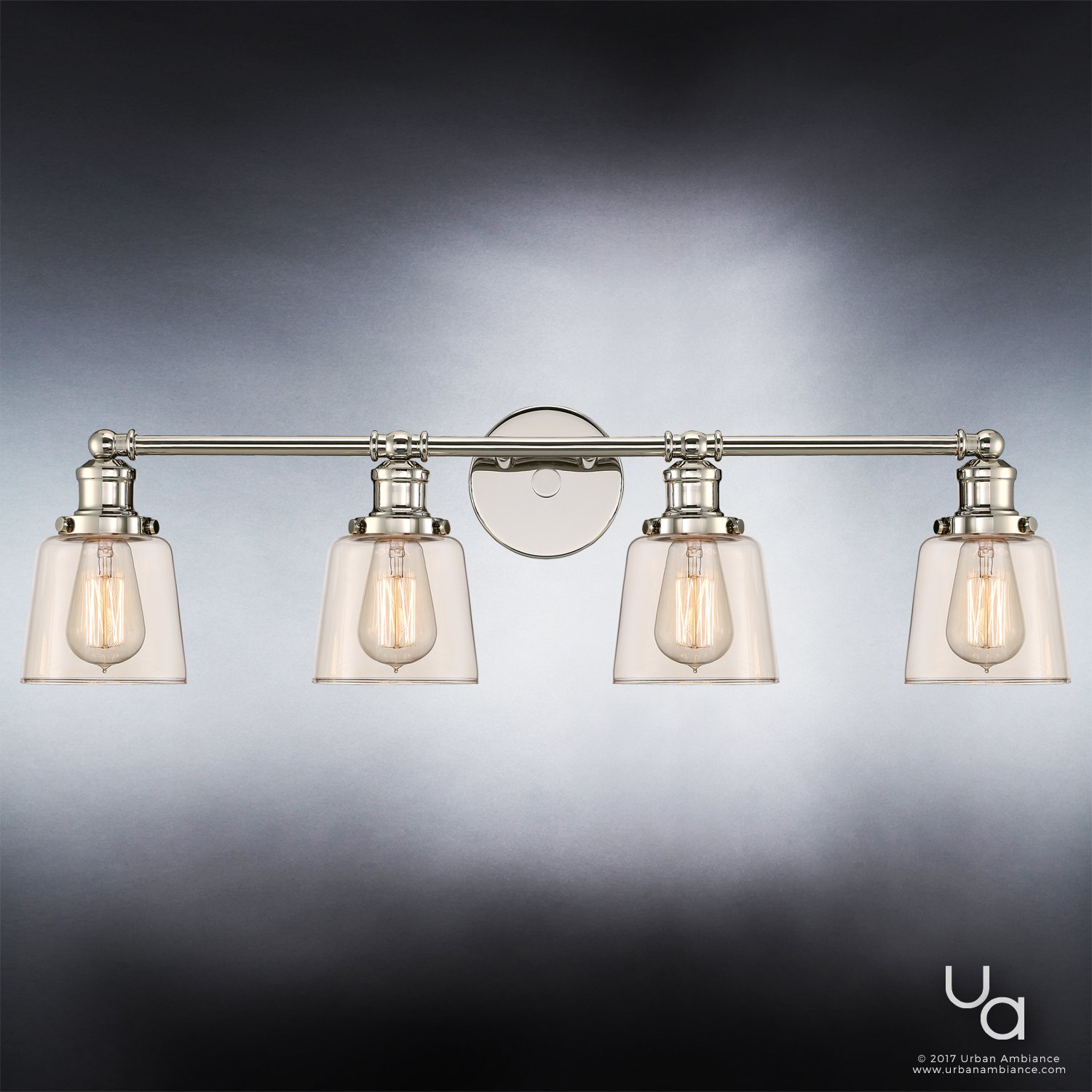 Luxury Industrial Chic Bathroom Vanity Light, Large Size: 9''H x 31.5''W, with Modern Style Elements, Nostalgic Design, Polished Nickel Finish and Light Champagne Glass, UQL2682 by Urban Ambiance by Urban Ambiance (Image #4)