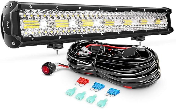 Amazon.com: Nilight ZH409 20 pulgadas 420 W Triple fila foco de inundación Combo 42000LM LED barra de luz con arnés de cableado todoterreno resistente, 2 años de garantía: Automotive