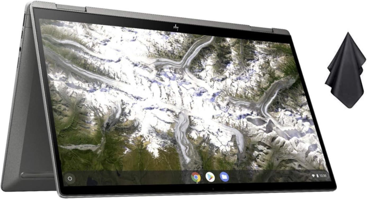 2021 Newest HP x360 2-in-1 14-inch FHD Touchscreen Chromebook, 10th Gen Intel Core i3-10110U, 8GB RAM, 64GB eMMC, WiFi 6, Backlit Keyboard, Fingerprint Reader, Chrome OS, Silver + Oydisen Cloth