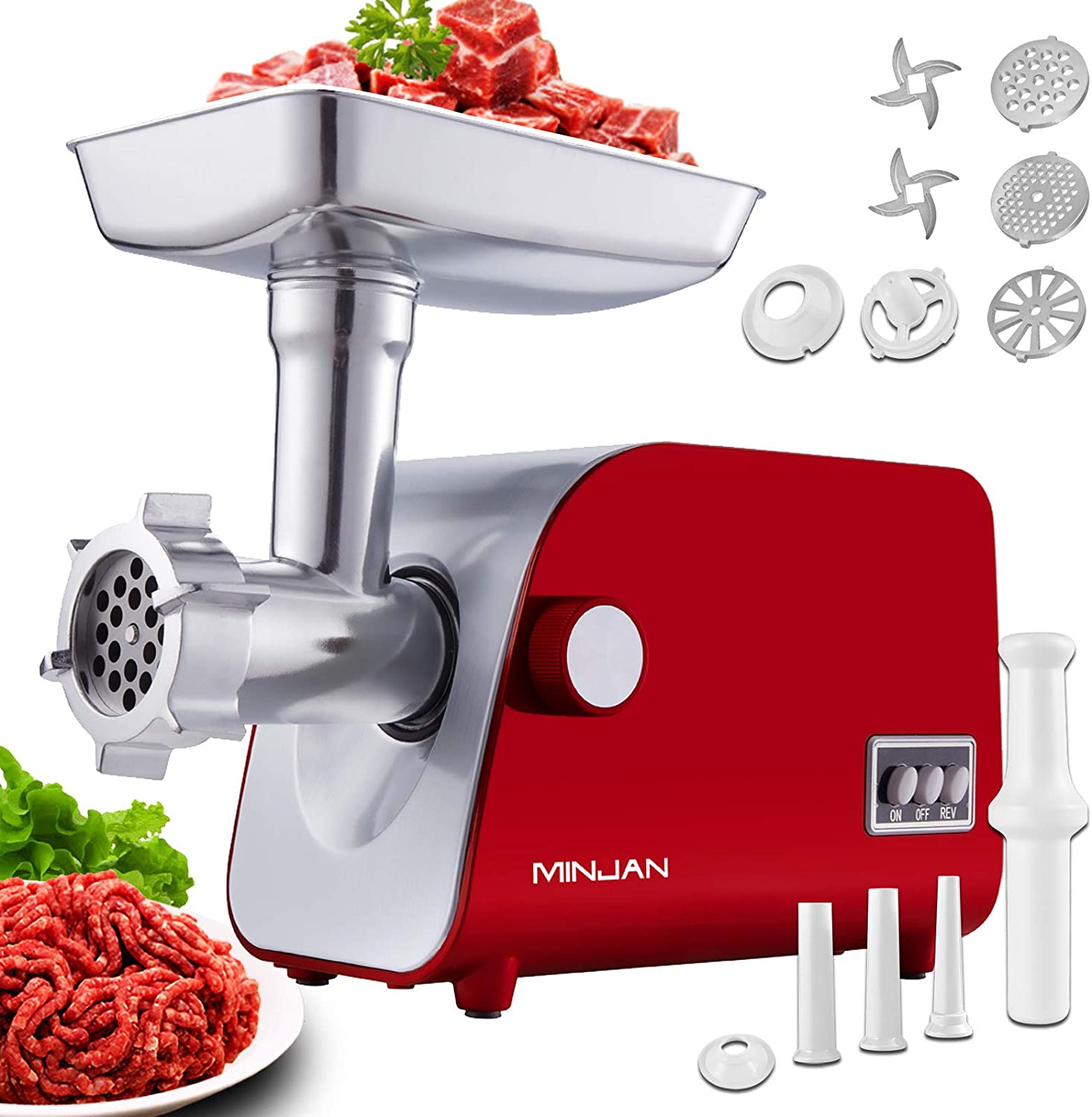 Electric Meat Grinder, Meat Mincer & Sausage Stuffer, 5LB/Min, All-Copper Motor 1800W Max, 3 Sizes Stainless Steel Grinding Plates 2 Blades, Kubbe Maker Food Grinder for Home Use (Red)