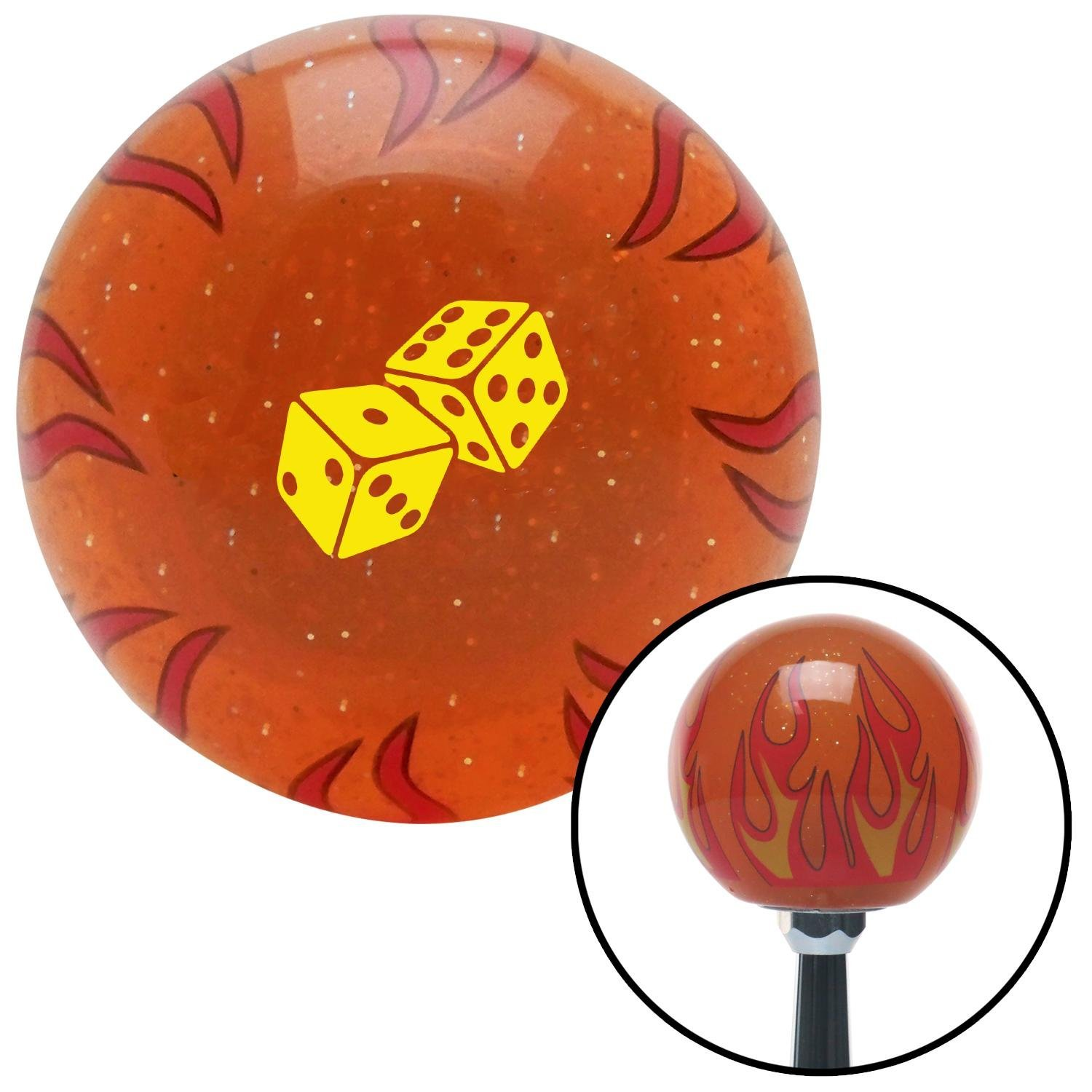 Yellow Set of Dice Orange Flame Metal Flake with M16 x 1.5 Insert American Shifter 298981 Shift Knob