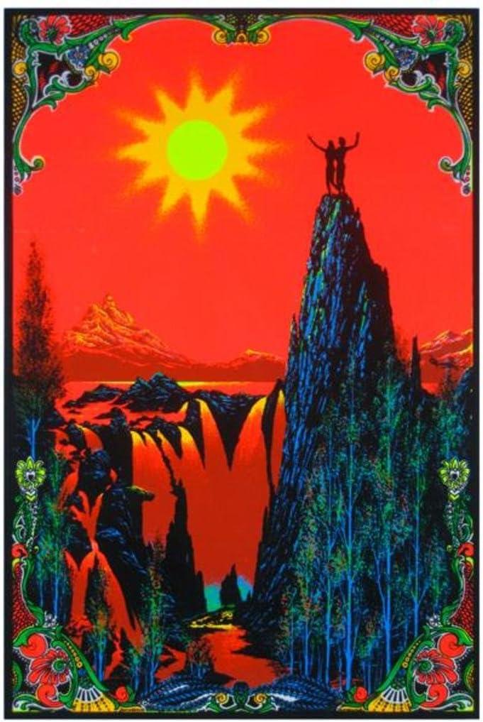 Garden of Eden Blacklight Poster Classic Retro Trippy Flocked Felt Velvet UV Black Light Reactive Psychedelic Adam Eve Mountain Top Sunset Valley Fantasy 23x35 inch
