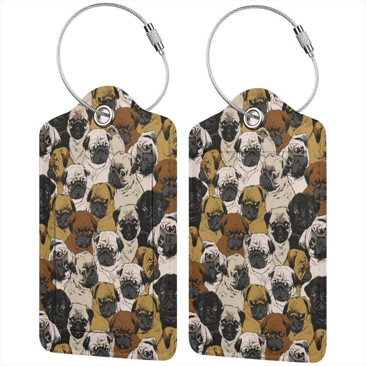 Dog Yoga Luggage Tags With Full Back Privacy Cover W//Steel Loops