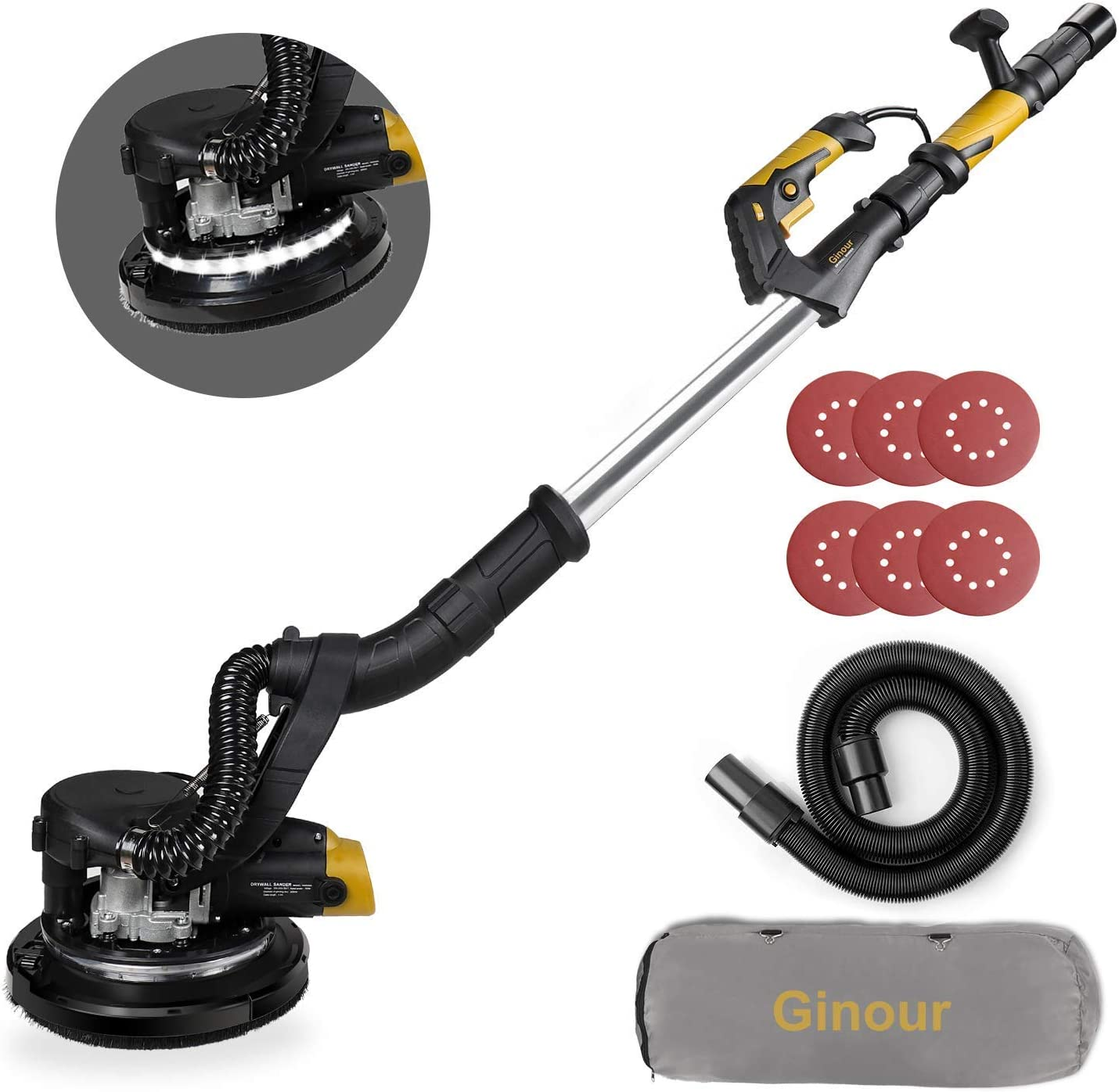Ginour 6A Electric Drywall Sander With Vacuum Attachment, Variable Speed & LED Light, Extendable Handle, Long Dust Hose, Storage Bag, 6 Sanding Discs