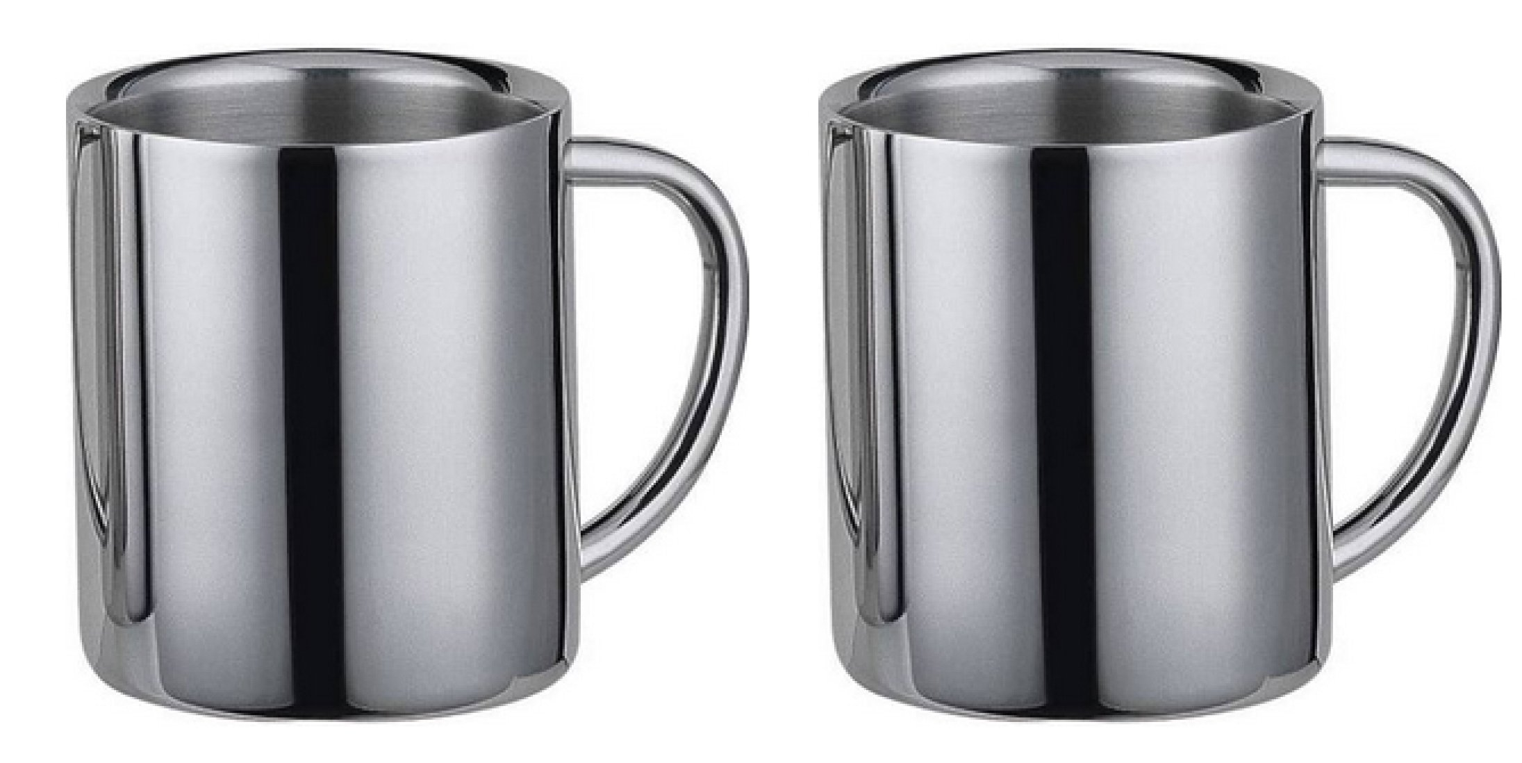 Two Stainless Steel Coffee Mug, Desk Mug, Double Wall Insulated, Stainless Steel Inside and Outside. 14 oz By Space Connection