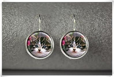 JUN Pendientes Colgantes para Gato, Joyas para Gatos, Pendientes para Gatos, Joyería de Cristal Cúpula Hecha a Mano: Amazon.es: Joyería