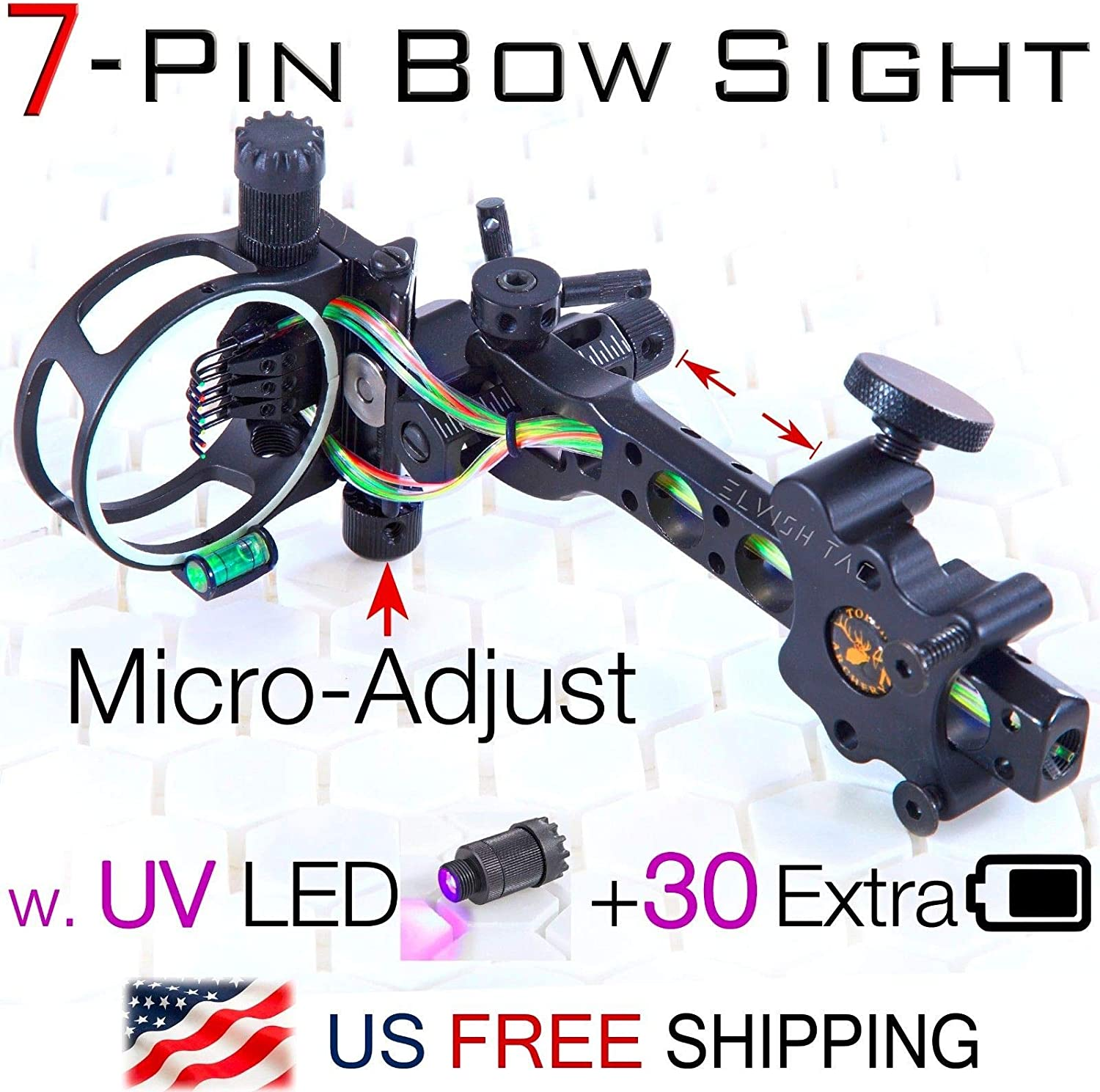 """Batteries Bow Hunting 5 Pin Micro-Adjust Compound Bow Sight .019/"""" Fiber UV LED"""