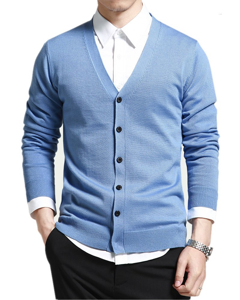 Mullsan Men's Slim Fit Stylish Button Down V-Neck Cardigan