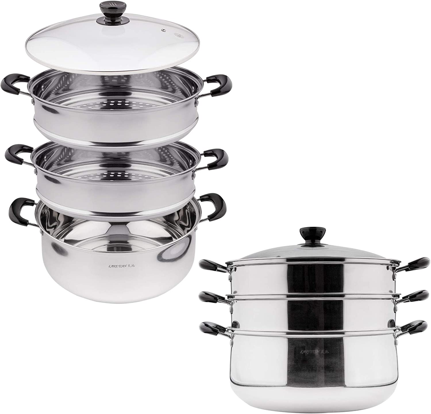 3 Tier Stainless Steel Steamer Pot For Cooking With Stackable Pan Insert, Food Steamer, Vegetable Steamer Cooker, Steamer Cookware Pot/Saucepan with Glass Lid, Multilayer By Lake Tian (28cm/11in)