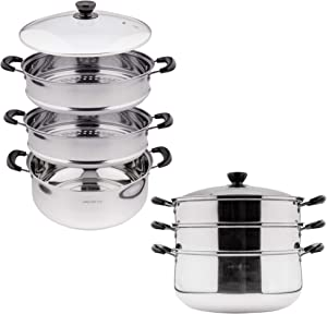 3 Tier Stainless Steel Steamer Pot For Cooking With Stackable Pan Insert, Food Steamer, Vegetable Steamer Cooker, Steamer Cookware Pot/Saucepan with Glass Lid, Multilayer By Lake Tian 30cm, 24 quart