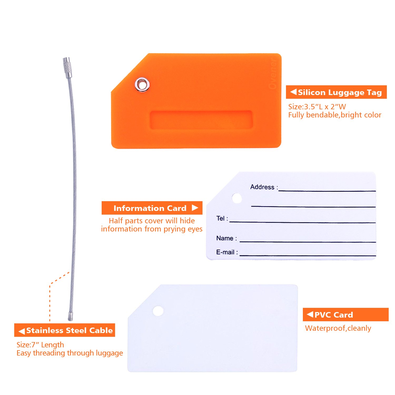 Silicone Luggage Tag With Name ID Card Perfect to Quickly Spot Luggage Suitcase (Plane 2Pcs Orange) by Ovener (Image #2)