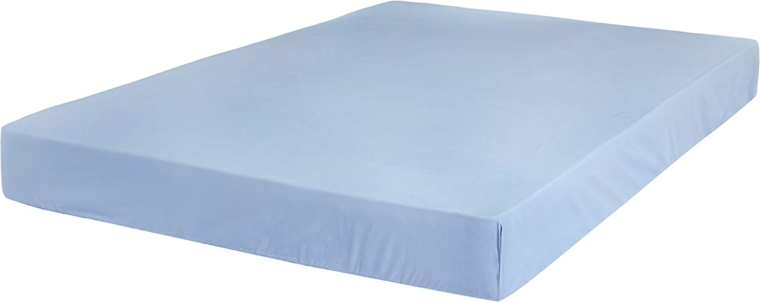 AmazonBasics Ultra-Soft Cotton Fitted Bed Sheet, Breathable, Easy to Wash, King, Dusty Blue