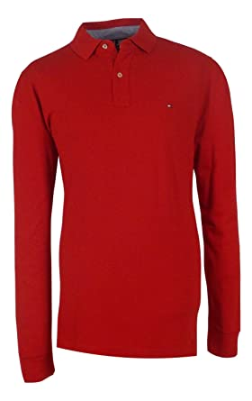 67e2dc53 Tommy Hilfiger Men's Classic Fit Long Sleeve Polo, Scarlet Sage, Large