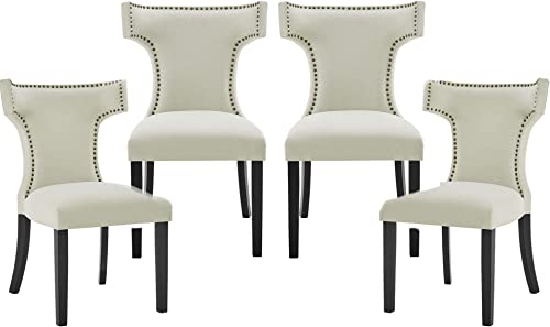 Set of 4 Upholstered Dining Chairs Tufted Fabric Dining Chairs Parsons Chair Armless Chair