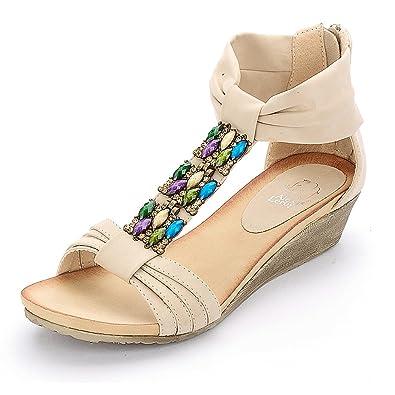 Amazon.com | Alexis Leroy Women Fashion Wedge Heel Bright Color ...