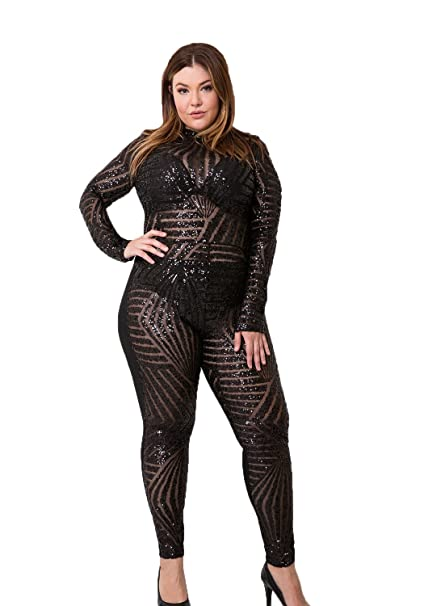 Shopqueen Womens Plus Size Black Sequined Back Cutout Sheer
