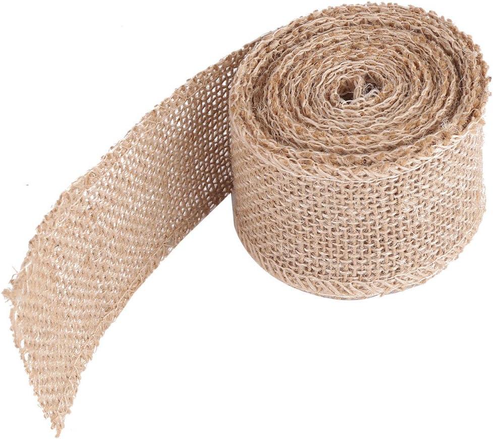 Burlap Rolls, Wide Burlap Ribbons Natural Jute Fabric Rustic Ribbon Roll for Party Decorative DIY Handmade Craft Arts, Christmas Decoration(50mm)