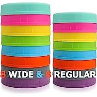 Aozita [16 unidades] Tapas de plástico de colores para tarros Mason para bola, Kerr y más – 8 boca ancha y 8 boca…