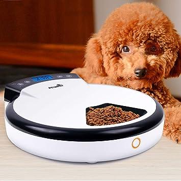 MRXUE Alimentador Automático De Mascotas 5X240ml para Gatos Perros Conejos Bowl 5 Comida/Día con Temporizador Y Grabadora De Voz, Dispensador De Alimentos ...