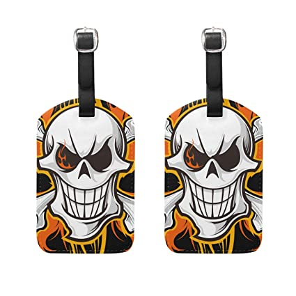 Amazon com | FOLPPLY Cool Skull Luggage Tags Travel Labels Name Card