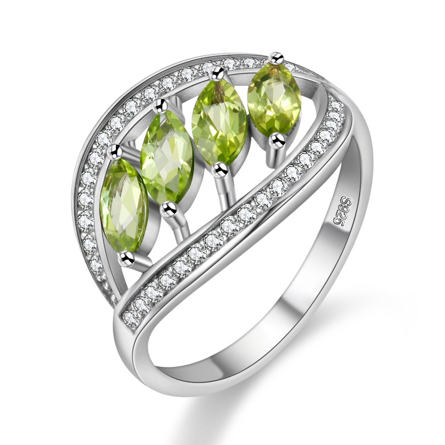 Uloveido August Birthstone Sterling Silver Anniversary Statement Ring for Women with 4 Pieces Natural Peridot Stones Size 8 FJ110