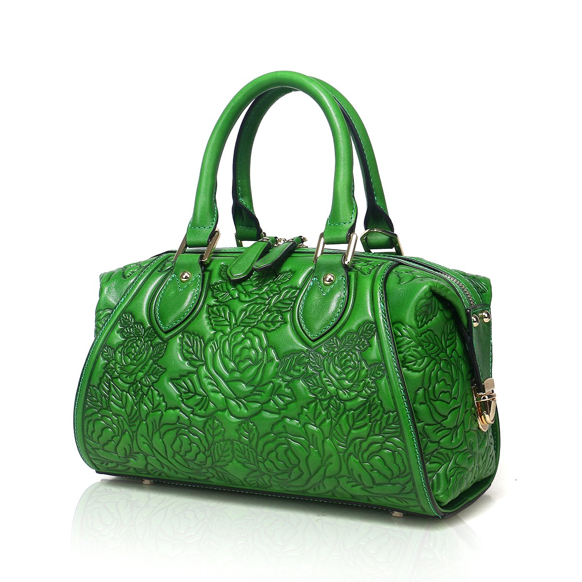 APHISON Designer Unique Embossed Floral Header Layer Cowhide Tote Style Ladies Top Handle Bags Handbags (Green)