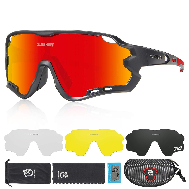 Queshark HD Polarized UV Protection Cycling Glasses Bike Eyewear For Road MTB Bike 4 Lens