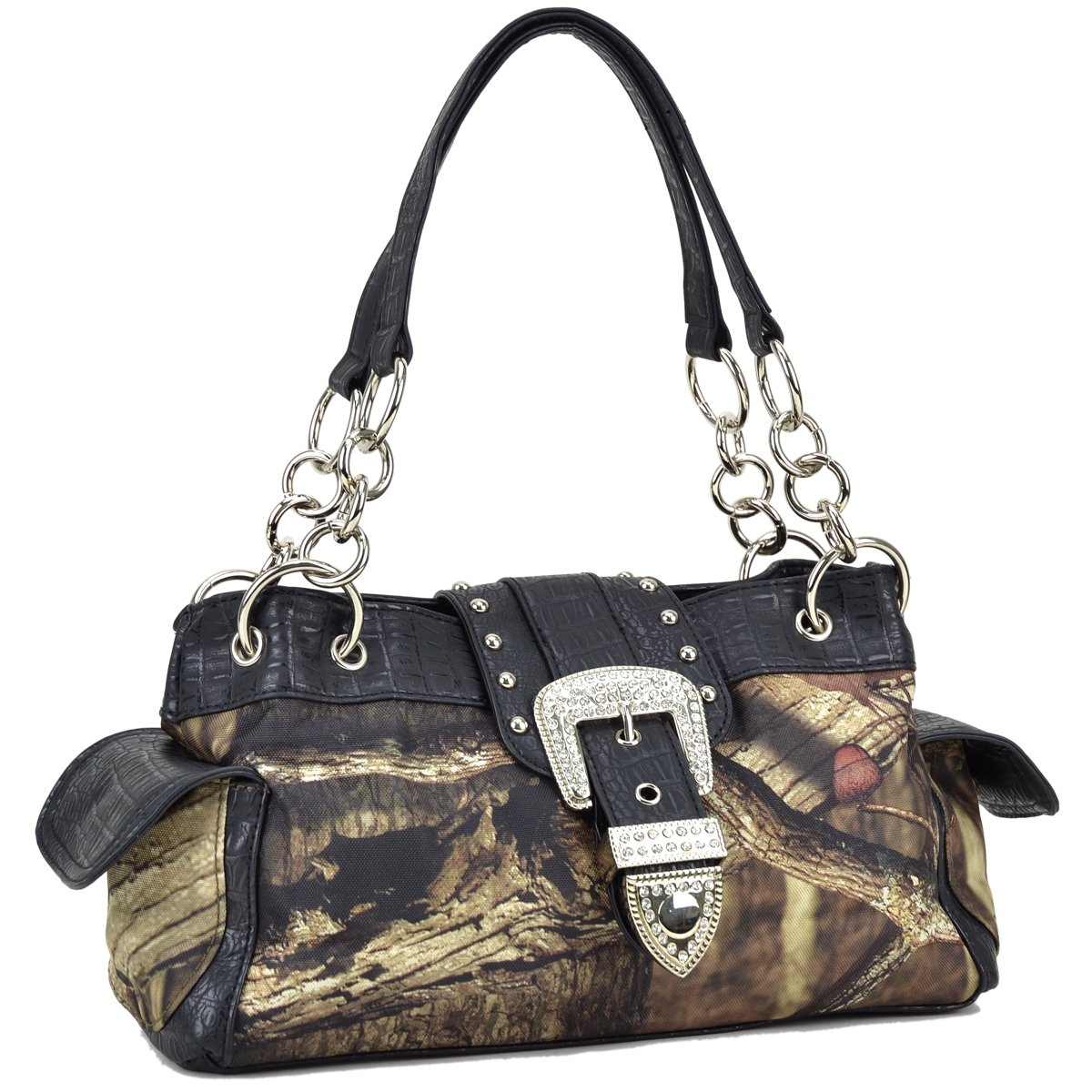 Realtree ® Bags & Wallets レディース B076LKTZF6 51747 Buckle- Brown Camo W/ Black Croco Trim