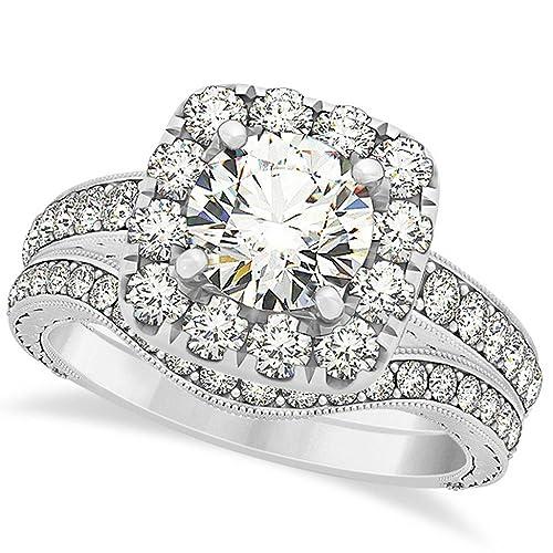 Amazon.com: Cojín Halo diamante anillo de compromiso con ...