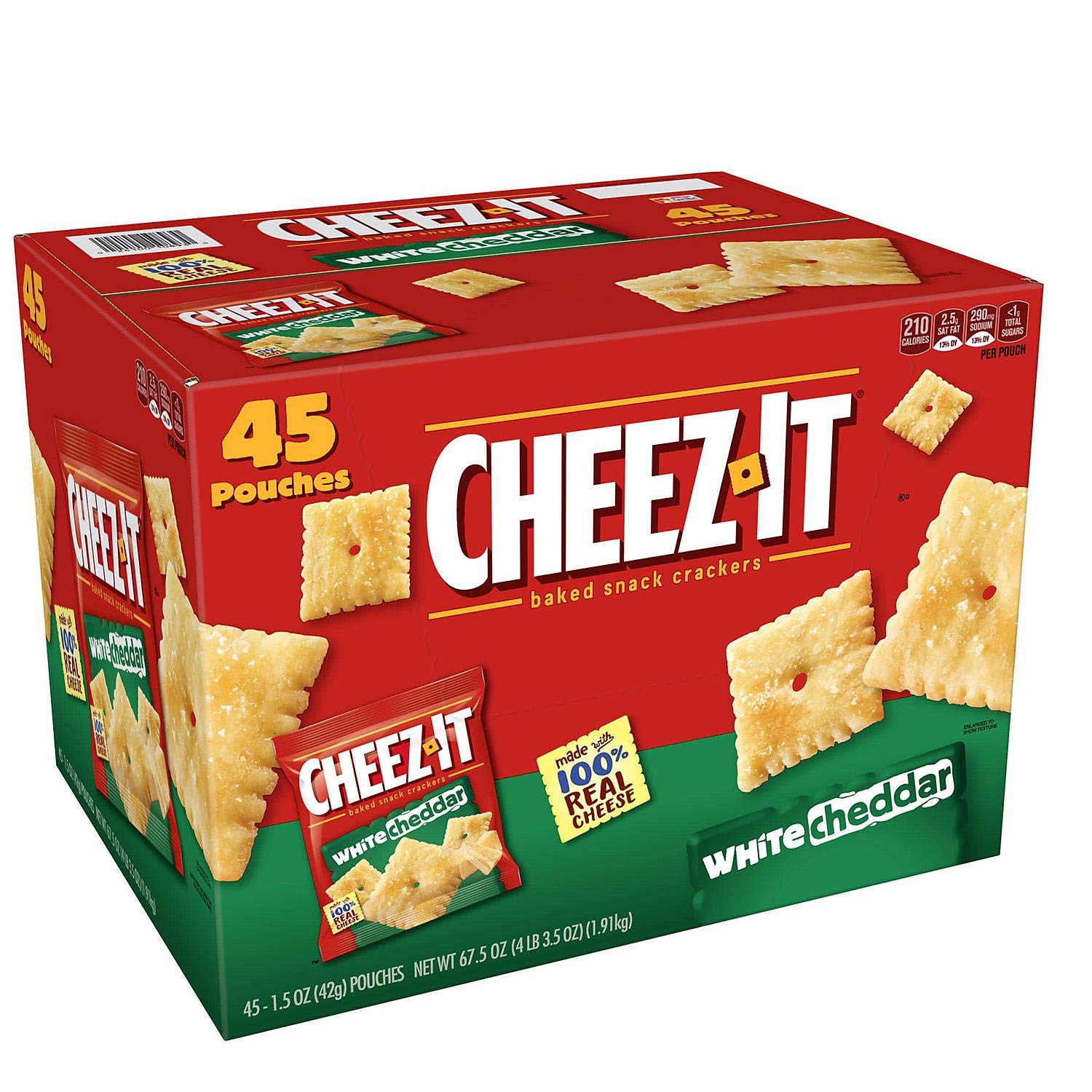 Cheez-It White Cheddar Crackers Snack Packs (1.5 oz. pouches, 45 ct.) by Cheez-It