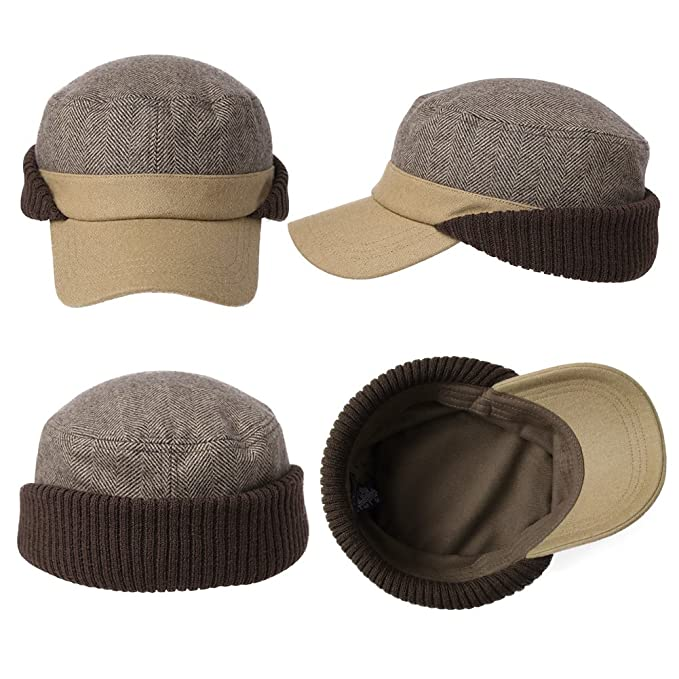 SIGGI Winter Wool Baseball Cap Earflap Hat Fitted Hunt Military Hats ... 8abd08d1fcb