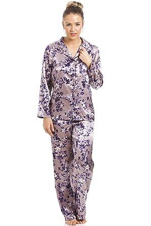 d69202ae5749f Camille Womens Floral Print Full Length Purple Satin Pyjama Set 10 ...
