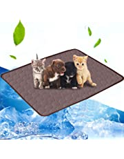 Pet Cooling Mat, Volwco Summer Cooling Mats Ice Blanket Pet Cats and Dogs Kennel Bed Pad Travel Cool Cushion Pad 39 x 28 in Ice Silk Non Sticking Blanket for Dogs Cats Kennel and Sofa Car, Brown