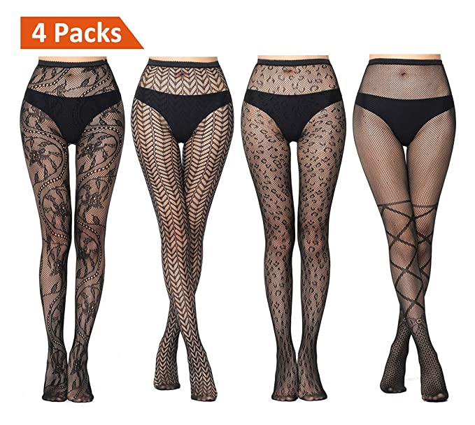 6c7fa3fd7cfd1 JaosWish Fishnet Stockings Women Black High Waist Fishnet Tight Small Net  Pantyhose 4 Pairs