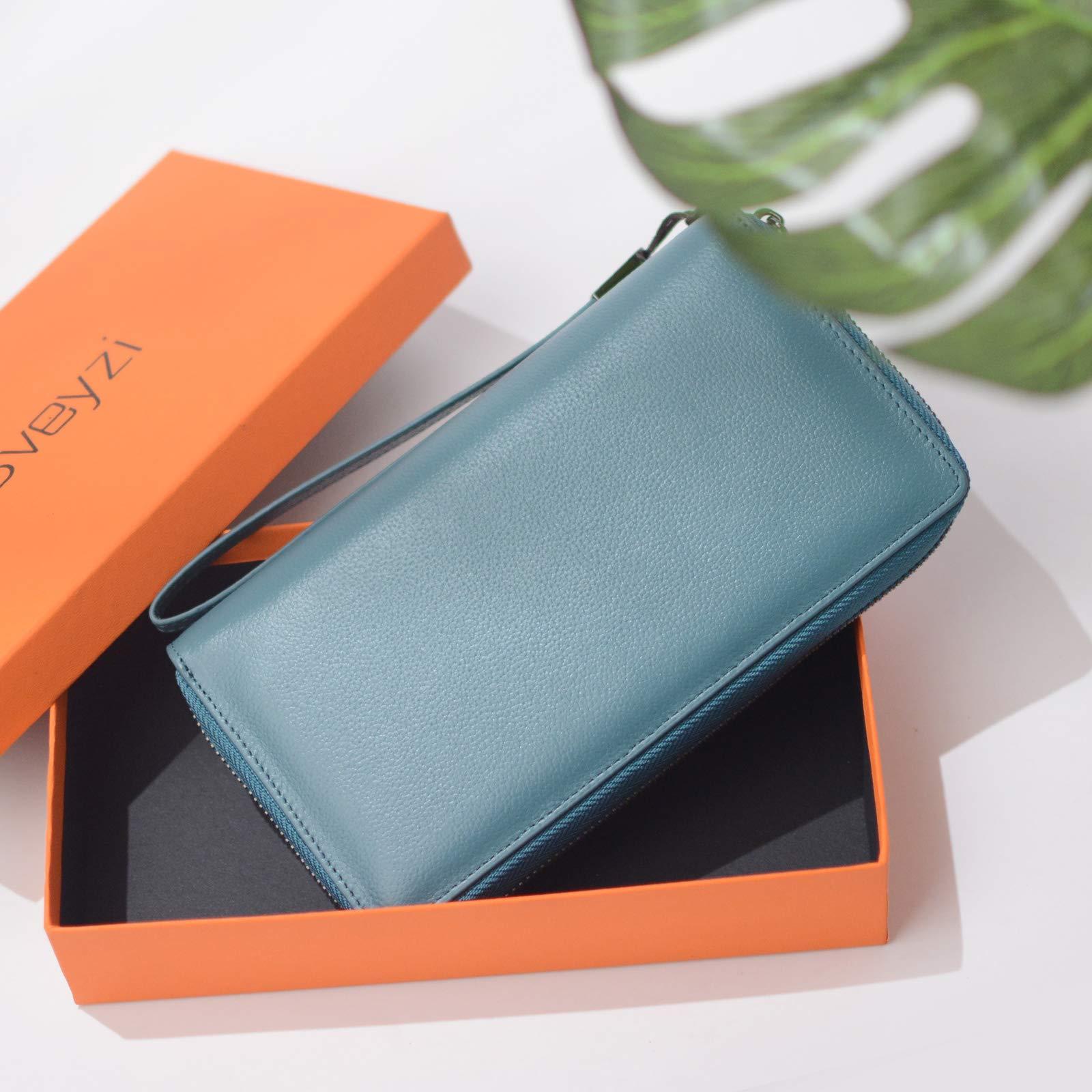 Women RFID Blocking Wallet Leather Zip Around Phone Clutch Large Travel Purse Wristlet (Lake Blue) by Bveyzi (Image #7)