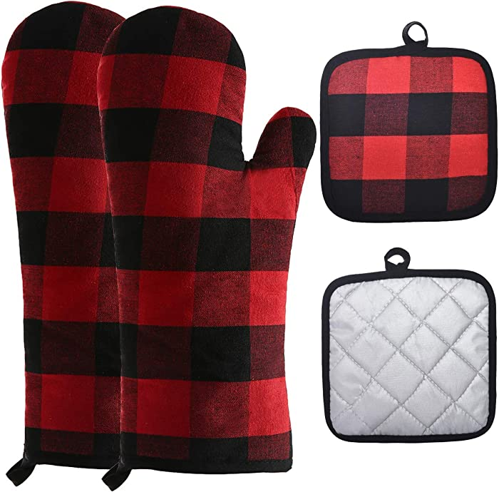 Win Change Oven Mitts and Pot Holders-Oven Mitts and Potholders Soft Cotton Plaid Design Lining Non Slip Oven Mitt Set for Kitchen Cooking Baking Grilling(4-Piece Set,Red/Black)