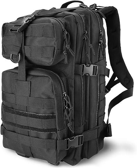 Procase Mochila Táctica Militar 35L, Paquete de Asalto MOLLE de Gran Capacidad para Utilidad Militar, Bolsa Caminata de 2 Días para Caza Senderismo Acampada y Actividad al Aire Libre –Negro: Amazon.es: Deportes