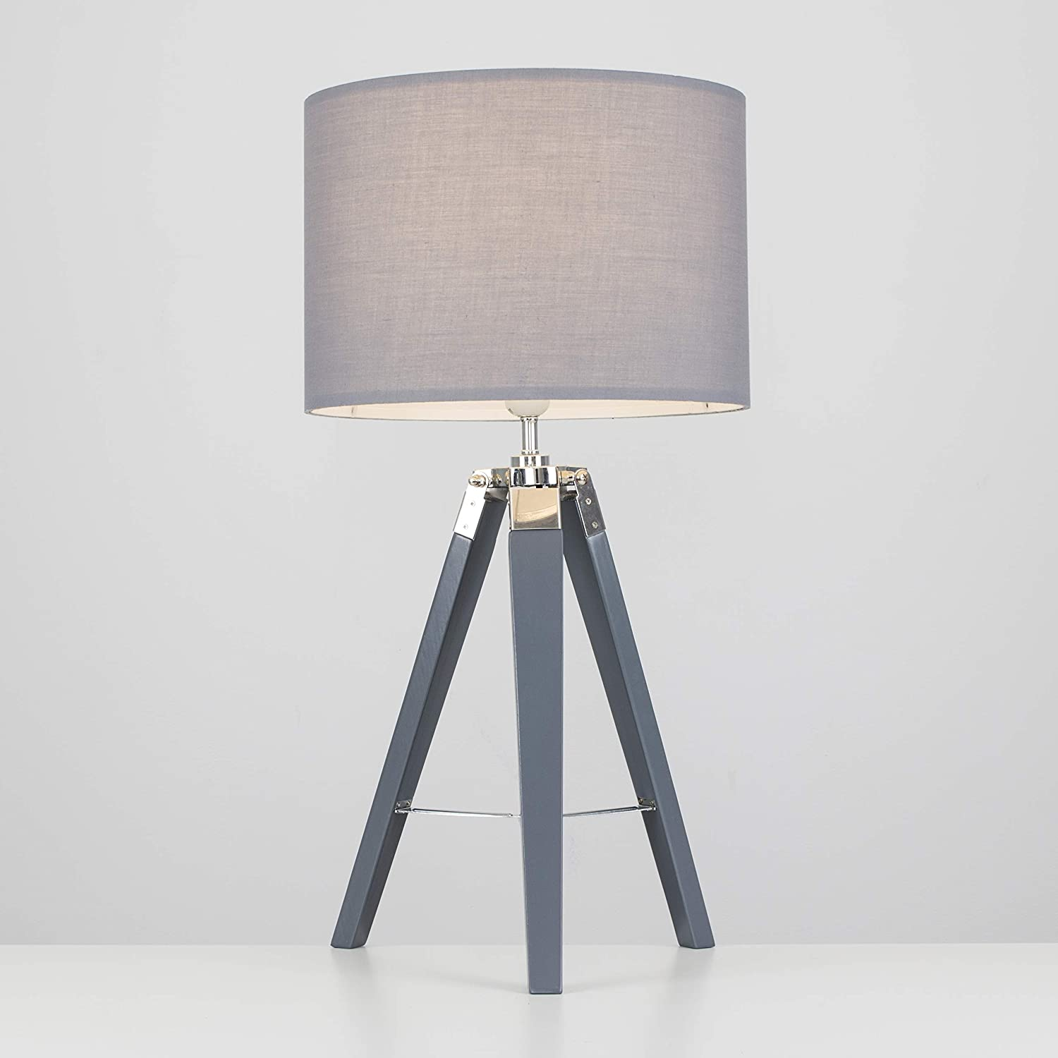 Medium Wood Tripod Table Lamp With Grey